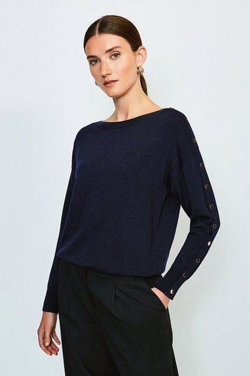 Navy Gold Popper Slouchy Jumper