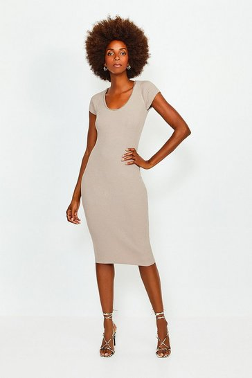 Taupe Chain Neck Knitted Dress