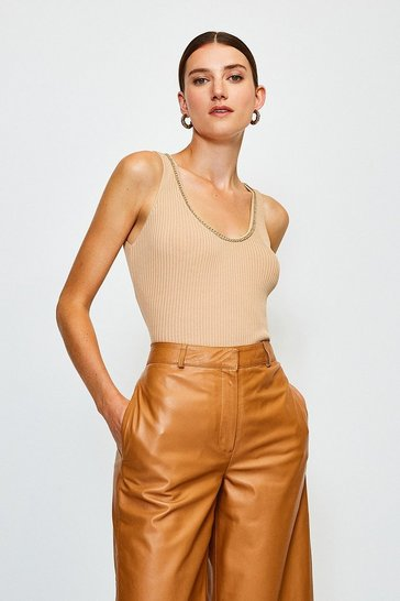 Cappucino Chain Neck Knitted Top
