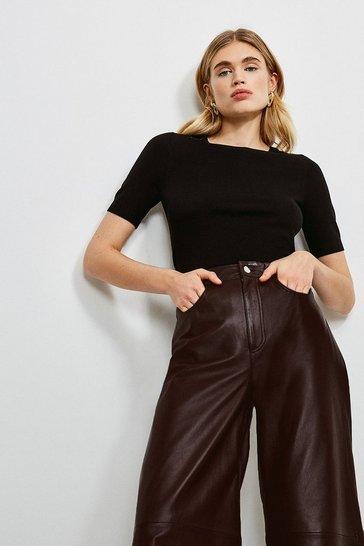 Black Short Sleeve Trim Detail Knitted Top
