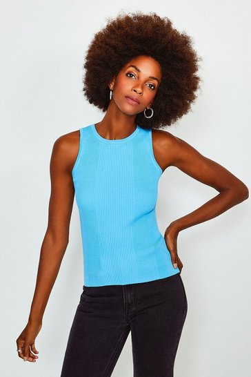 Blue Knitted Rib Crew Neck Vest Top
