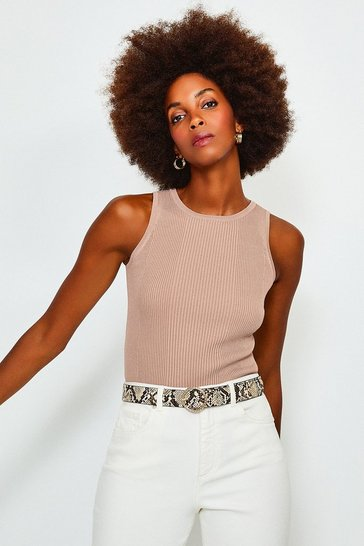 Cappucino Knitted Rib Crew Neck Vest Top