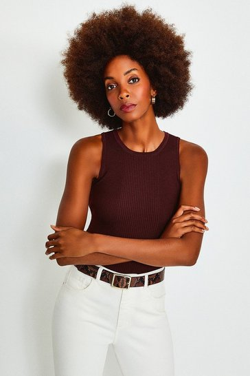 Fig Knitted Rib Crew Neck Vest Top