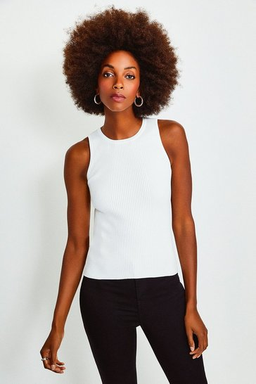 Ivory Knitted Rib Crew Neck Vest Top