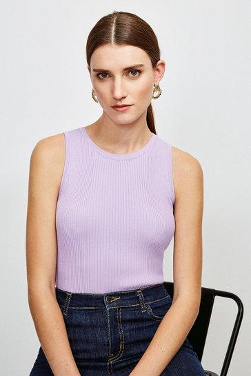 Lilac Knitted Rib Crew Neck Vest Top