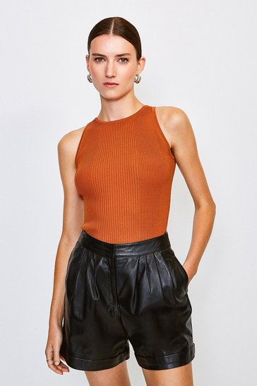 Brown Knitted Rib Cut Away Vest Top