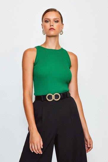 Green Knitted Rib Cut Away Vest Top