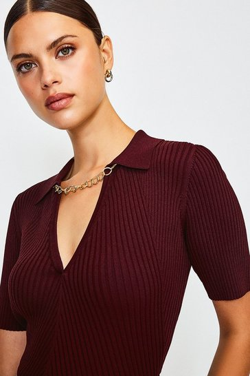 Fig Knitted Rib Chain Detail Collared Top