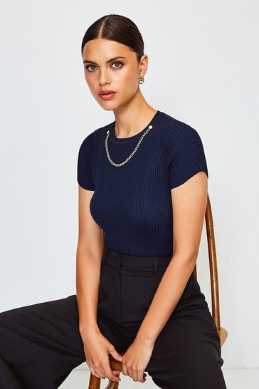 Navy Knitted Rib Eyelet And Trim Top