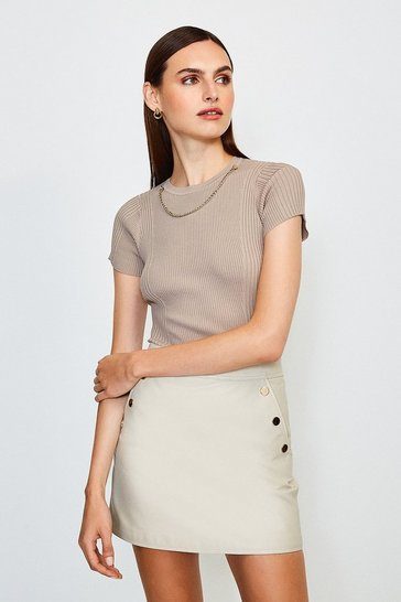 Stone Knitted Rib Eyelet And Trim Top