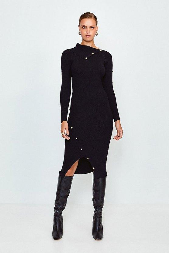 Black Button Detail Envelope Neck Knitted Dress