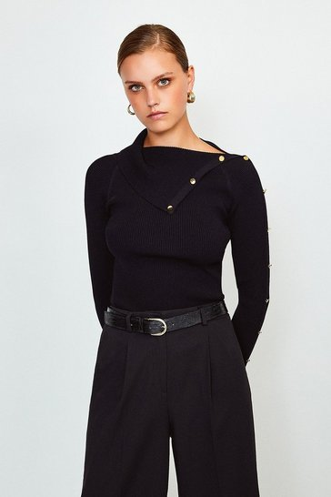 Black Button Detail Envelope Neck Knitted Jumper