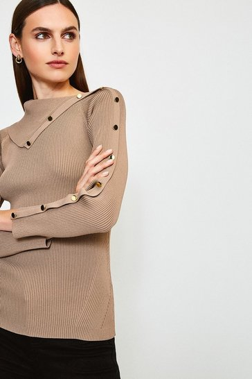 Brown Button Detail Envelope Neck Knitted Jumper