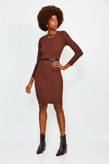 Rust Knitted Rib Dress With Skinny Belt