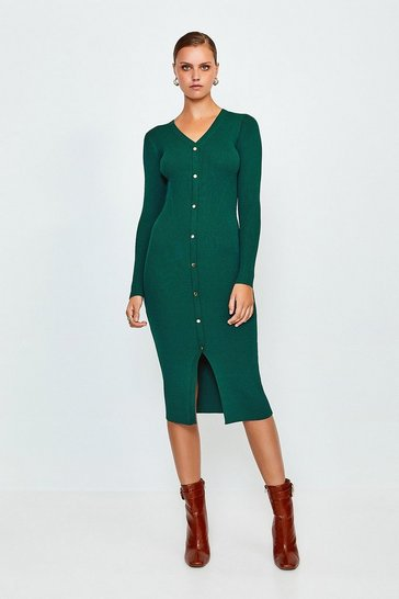 Dark green Button Detail Knitted Rib Dress