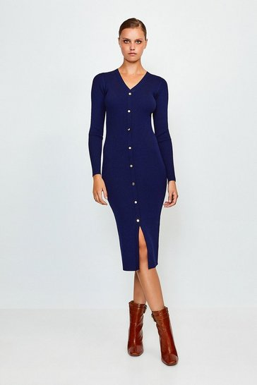 Navy Button Detail Knitted Rib Dress