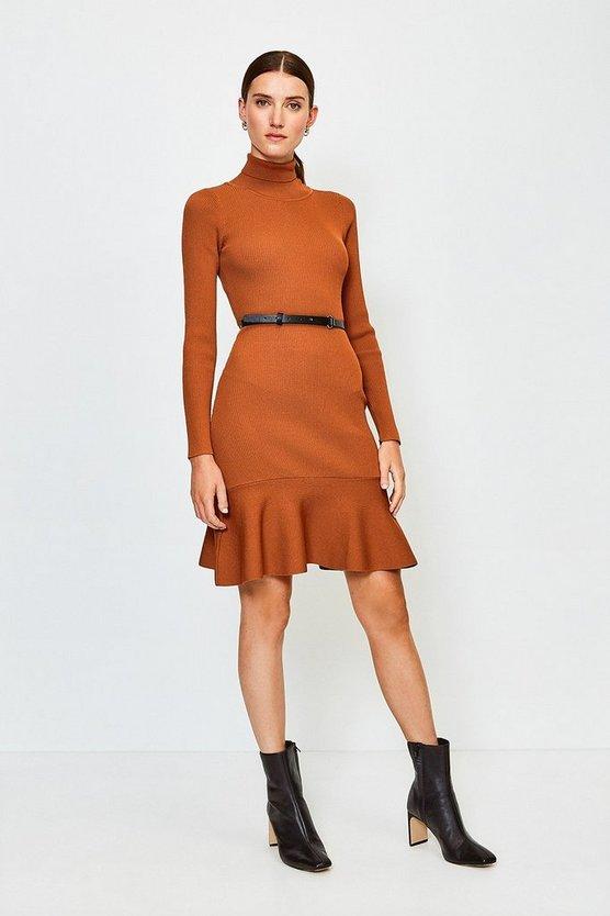 Brown Knitted Roll Neck Belted Flippy Hem Dress
