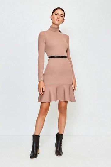 Cappucino Knitted Roll Neck Belted Flippy Hem Dress
