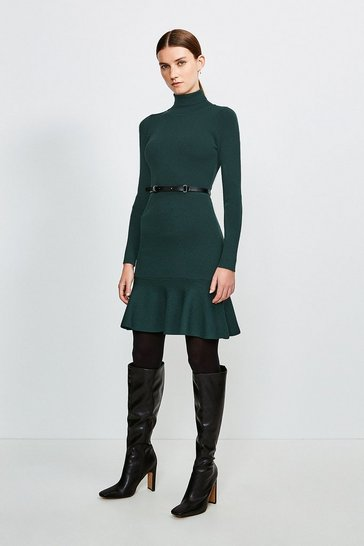 Dark green Knitted Roll Neck Belted Flippy Hem Dress