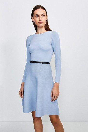 Denim-blue Knitted Crew Neck Skater Dress