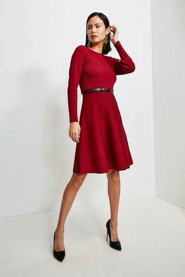 Red Knitted Crew Neck Skater Dress
