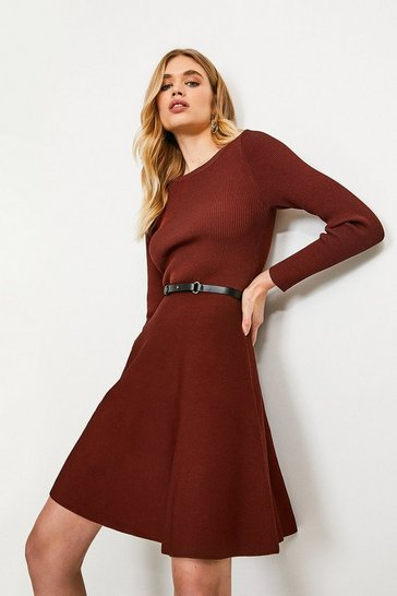 Rust Knitted Crew Neck Skater Dress