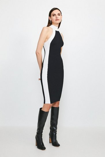 Blackwhite Knitted Rib Mono Dress