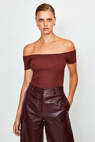 Burgundy Knitted Rib Bardot Top