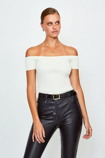 Cream Knitted Rib Bardot Top