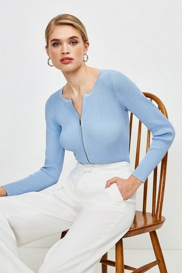 Mid blue Knitted Rib Zip Though Cardigan