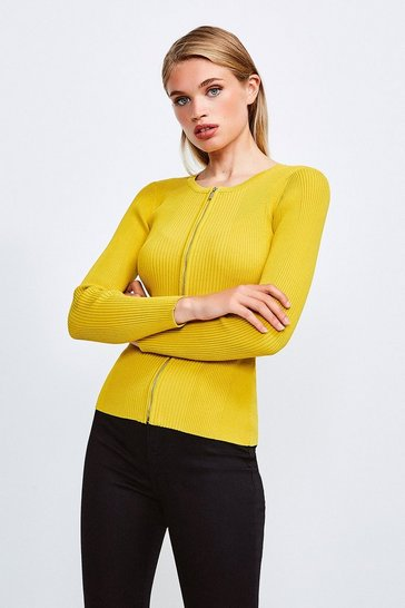 Yellow Knitted Rib Zip Though Cardigan