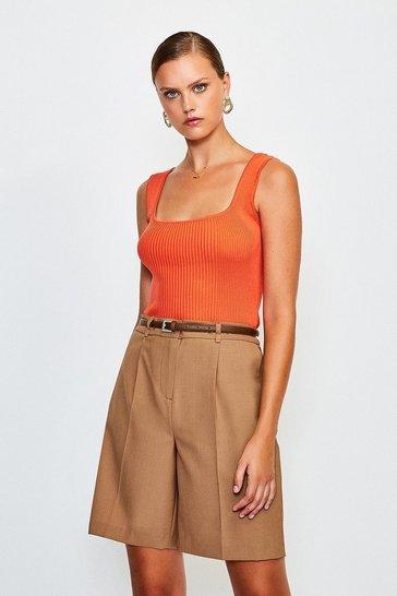 Orange Knitted Rib Square Neck Vest Top