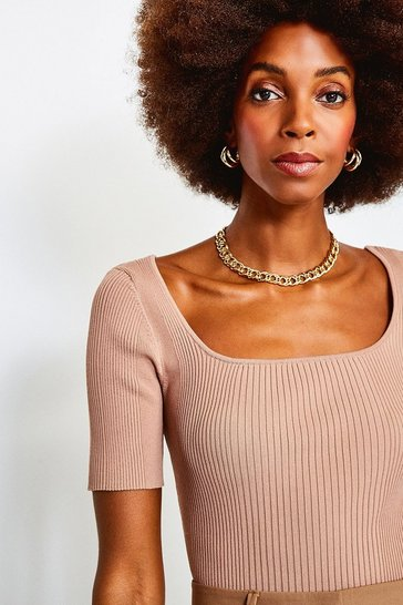 Brown Knitted Rib Scoop Neck Top