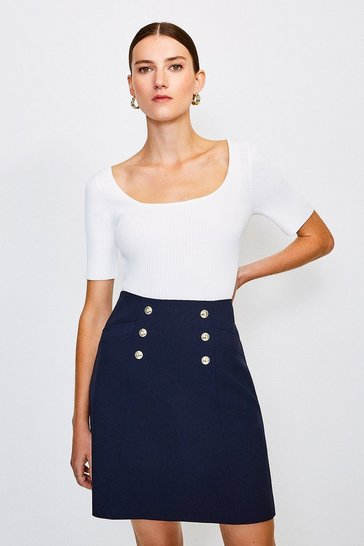 Ivory Knitted Rib Scoop Neck Top