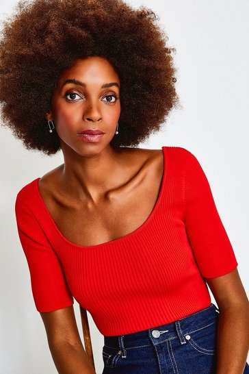Red Knitted Rib Scoop Neck Top
