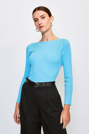 Blue Knitted Rib Slash Neck Top