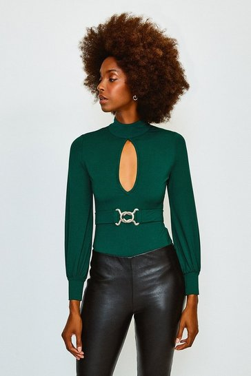 Green Belted Volume Sleeve Jersey Body