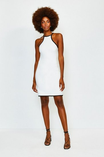 Ivory Tipped Racer Neck Ponte Dress