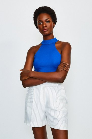 Blue High Neck Ponte Top