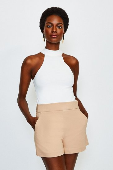 Ivory High Neck Ponte Top