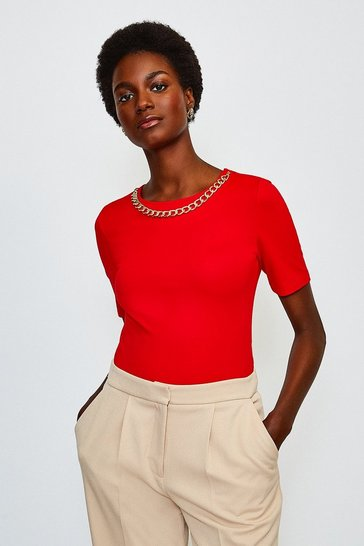 Fire red Chain Detail Scoop Neck Top