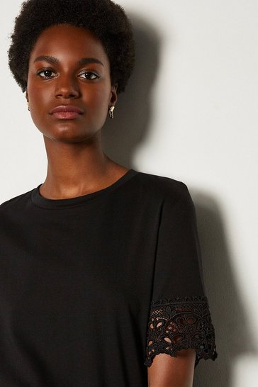 Black Broidery Sleeve T Shirt