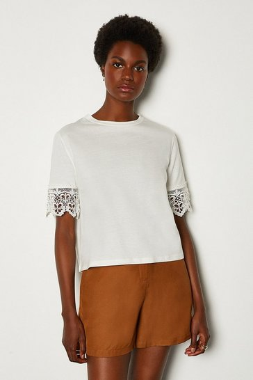 Ivory Jersey Cotton Broidery Sleeve TShirt
