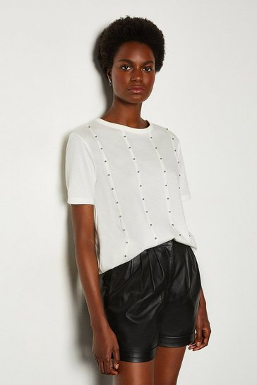 Ivory Stud Front Tshirt