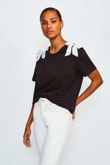 Black Bow Detail Tshirt