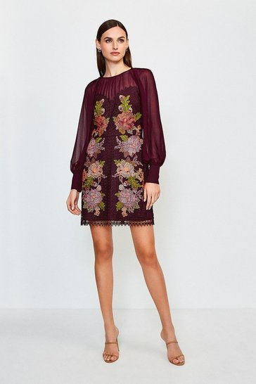 Fig Cutwork Lace Volume Sleeve Dress