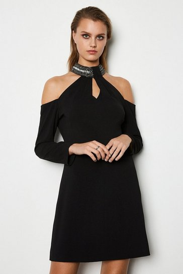 Black Jewelled Halterneck Short Dress