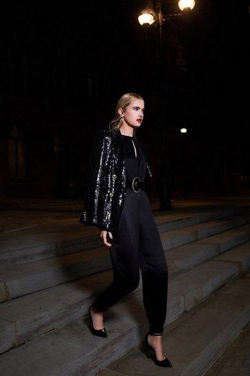 Black Luxe Sandwash Silk Jumpsuit