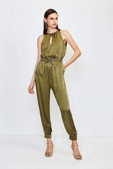 Olive Luxe Sandwash Silk Jumpsuit