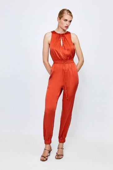 Tan Luxe Sandwash Silk Jumpsuit